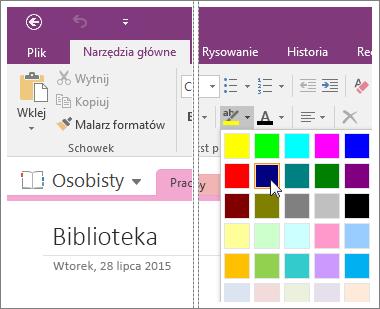 Zrzut ekranu przedstawiający przycisk Kolor wyróżnienia tekstu w programie OneNote 2016.