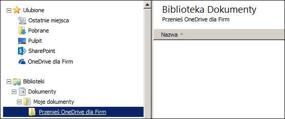 Folder tymczasowych plików, które mają zostać przeniesione do usługi Office 365