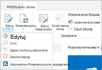 Wstążka strony przedstawiająca wyłączone przyciski