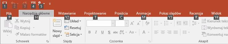 wskazówki klawiszowe na wstążce w programie PowerPoint