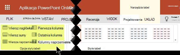 Style cieniowania można dodawać do określonych wierszy lub kolumn w tabeli.
