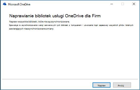 Okno dialogowe rozwiązywania problemów z synchronizacją w usłudze OneDrive dla Firm