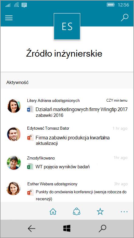 Pokazywanie aktywności, plików, list i nawigacji systemu Windows 10 Mobile