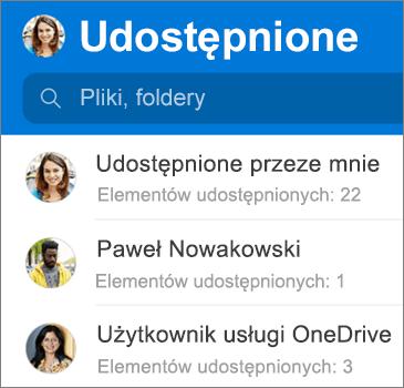 Widok plików udostępnionych w aplikacji OneDrive dla systemu Android