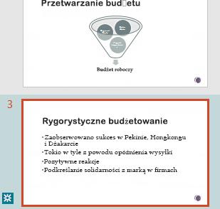 Wyróżnianie poprawek w okienku miniatur programu PowerPoint