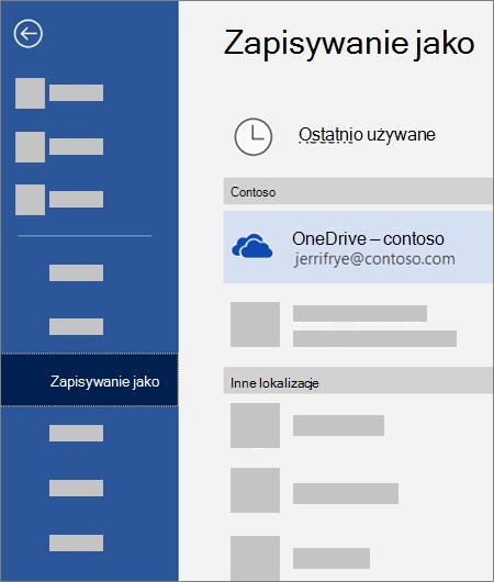 Zapisywanie pliku z programu Word w usłudze OneDrive dla Firm