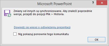 Komunikat o zmianach synchronizowanych w programie PowerPoint