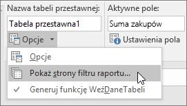 Opcja Pokaż strony filtru raportu
