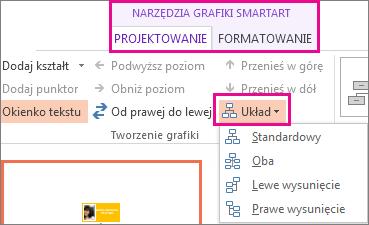 Opcje układu dla grafiki SmartArt schematu organizacyjnego