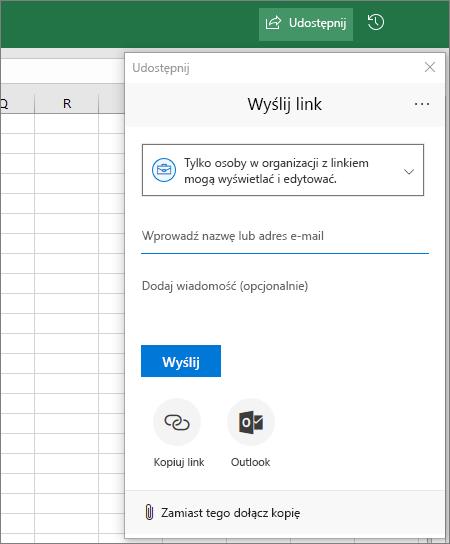 Okno dialogowe i ikona udostępniania w programie Excel