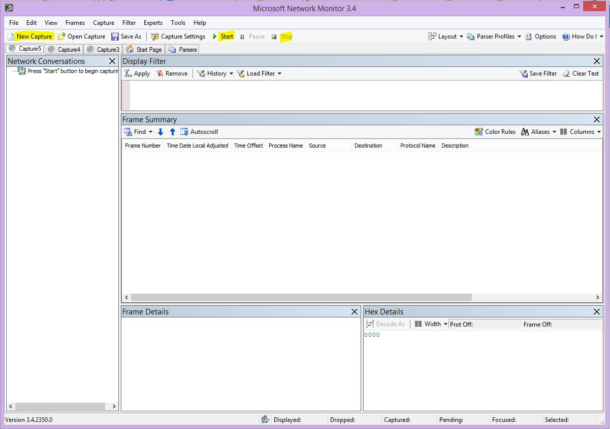 Interfejs użytkownika monitora sieci z wyróżnionymi przyciskami Nowe przechwytywanie, Rozpocznij i Zatrzymaj.