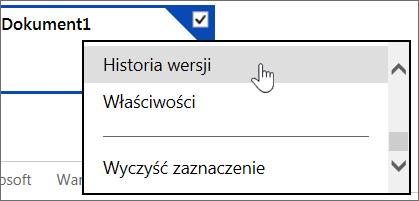 Menu Historia wersji w usłudze OneDrive