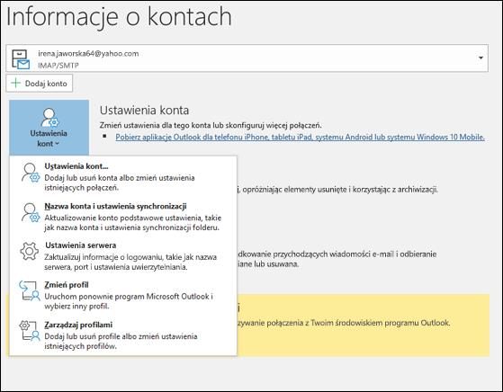0411eb137541cd Istnieje wiele typów ustawień konta, które można zmienić w programie Outlook .