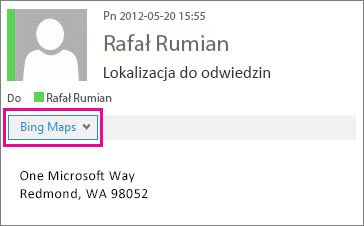 Wiadomość programu Outlook z wyświetloną aplikacją Mapy Bing