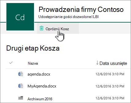 SharePoint Online 2 poziomu Kosz z wyróżnionym przyciskiem pojemnika opróżnianie Kosza