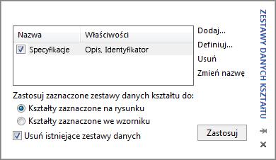 Okno Zestawy danych kształtu