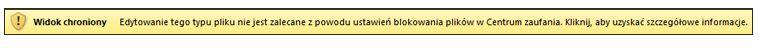 Widok chroniony wywołany przez funkcję blokowania plików, użytkownik może edytować plik