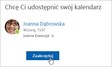 Zrzut ekranu przedstawiający przycisk Zaakceptuj w powiadomieniu e-mail o udostępnieniu kalendarza.