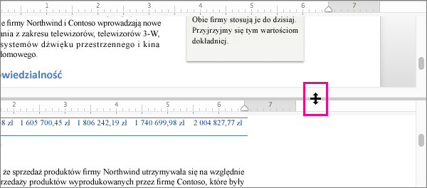 Okno można podzielić, aby umożliwić równoczesne wyświetlanie dwóch różnych części dokumentu oraz różne widoki.