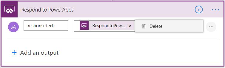 Usuwanie odpowiedź do wyjścia PowerApp w przepływie