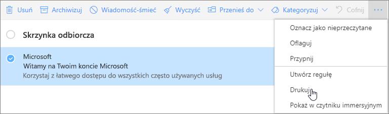 Zrzut ekranu przedstawiający opcję Drukuj wybraną dla wiadomości e-mail.