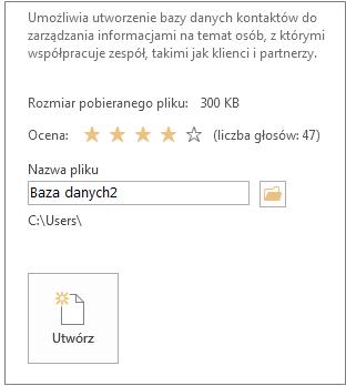 Tworzenie bazy danych programu Access dla komputerów stacjonarnych przy użyciu szablonu