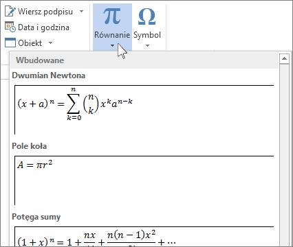 Wstawianie równania