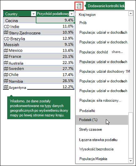 Dodaj kolumnę do typu danych geograficznych, wybierając właściwość z przycisku Dodaj kolumnę.
