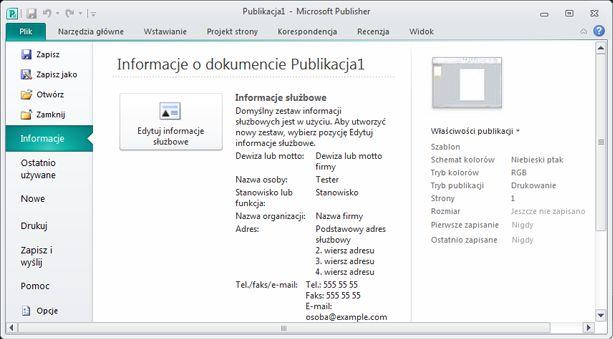 Informacje służbowe w widoku Backstage programu Publisher 2010