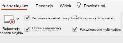 """Karta pokazu slajdów wstążki z zaznaczoną opcją """"Zapewnij aktualizację slajdów""""."""