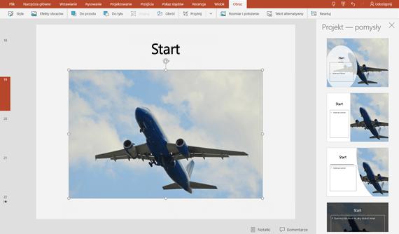Po wybraniu pomysłu dotyczącego projektu pojawi się on natychmiast w pełnym wymiarze na slajdzie