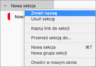 Zmienianie nazwy grupy sekcji w programie OneNote dla komputerów Mac