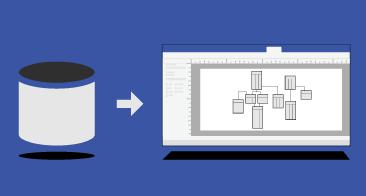 Ikona bazy danych, strzałka, diagram programu Visio przedstawiający bazę danych