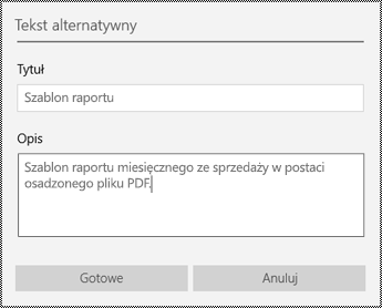Dodawanie tekstu alternatywnego do plików osadzonych w aplikacji OneNote dla systemu Windows 10