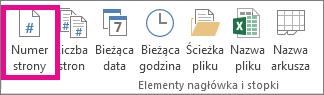 W grupie Elementy nagłówka i stopki kliknij przycisk Numer strony