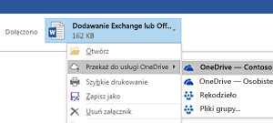 Przekazywanie załączników programu Outlook do usługi OneDrive