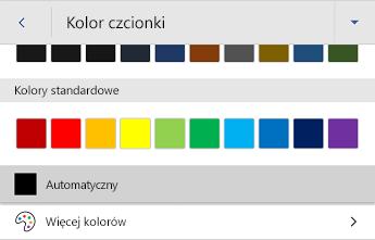 Menu kolor czcionki w programie Word dla systemu Android