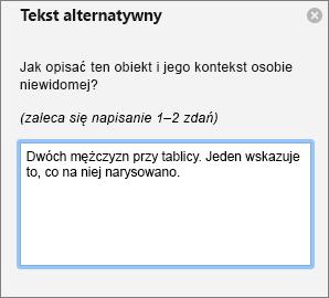 Okienko tekstu alternatywnego dla Dodawanie tekstu alternatywnego do obrazu w programie Outlook