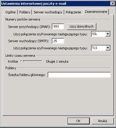 Zrzut ekranu: karta Zaawansowane w oknie dialogowym Ustawienia internetowej poczty e-mail.