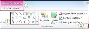 Przykład innych funkcji Wstążki w programie PowerPoint 2010.