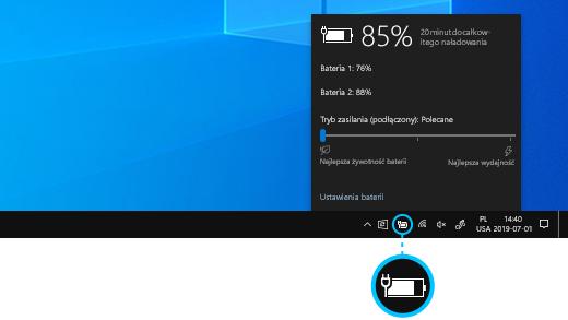 Stan ładowania baterii urządzenia Surface Book na pasku zadań pulpitu.