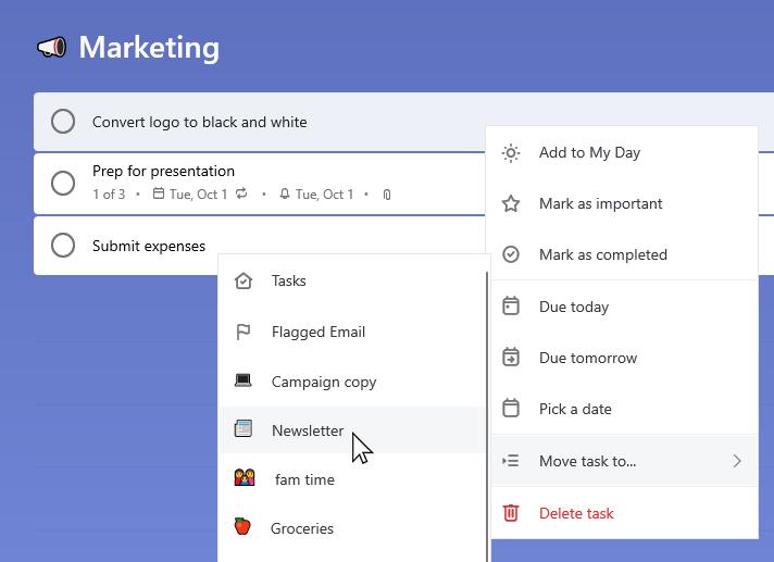 Lista marketingowa z zaznaczonym poleceniem Konwertuj logo na czarno-białą, a menu kontekstowe jest otwarte. Zaznaczono opcję Przenieś zadanie do, a następnie wybrano listę biuletynów.