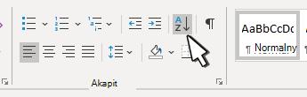 Sekcja Paragraph w programie Word z ostrem sortowanym