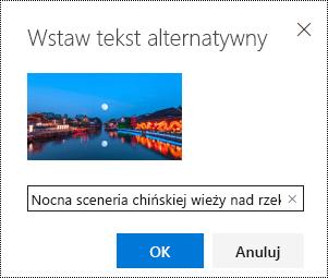 Okno dialogowe tekst alternatywny w aplikacji Outlook w sieci Web.