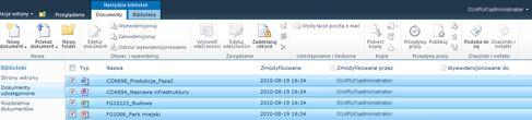Biblioteka dokumentów programu SharePoint z wieloma zaznaczonymi plikami do wyewidencjonowania