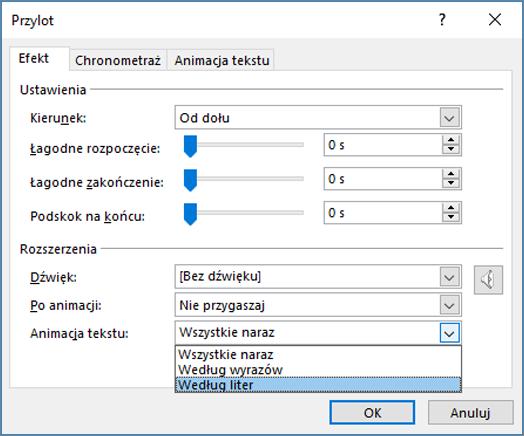Na karcie efekt kliknij po literze