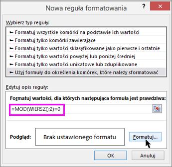Okno dialogowe Formatowanie warunkowe, Nowa reguła