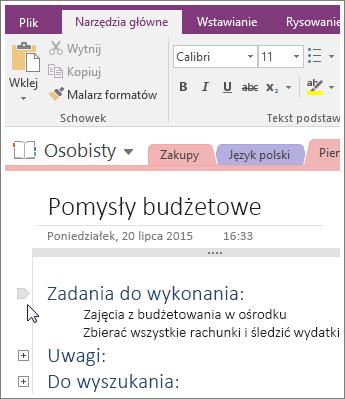 Zrzut ekranu przedstawiający zwijanie konspektu w programie OneNote 2016.