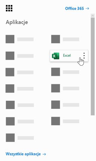Element Uruchamianie aplikacji usługi Office 365 z wyróżnioną aplikacją Excel