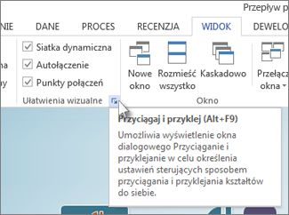Przycisk uruchamiania okna dialogowego w grupie Ułatwienia wizualne